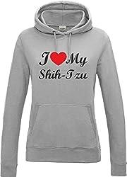 I Love Heart My Shih Tzu Dog Heather Grey Womens Hoodie With Black Text & Red Heart