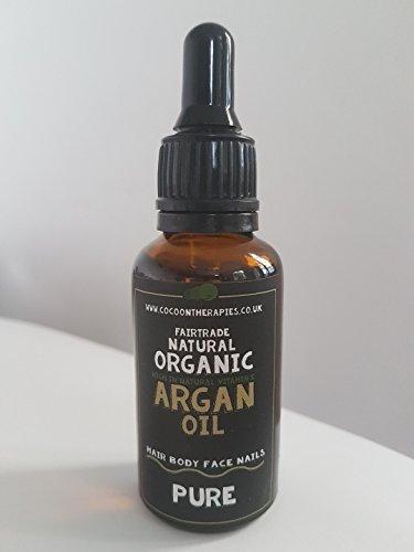 Cocoon Therapien 100% reines Bio Fair Trade nachhaltig kalt gepresstes Virgin Arganöl (30ml) Dark Glas Flasche mit Glas-Pipette, Winner Best Bio Argan Öl 2018, Unterstützung der ucfa (Union der Frauen Arganöl genossenschaften)