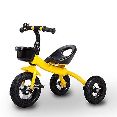 QWM-Baby bicyclettes enfants Tricycle Vélo Poussette Enfants 2-5 Ans Bike Cadeau pour enfants ( Couleur : Le jaune , taille : Pneumatic Wheels )
