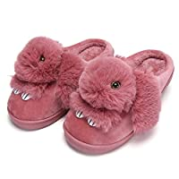 Girls Home Slippers Winter Cute Rabbit Cotton Shoes Warm Plush Lined Indoor Non Slip Flat Fluffy Slipper for Women