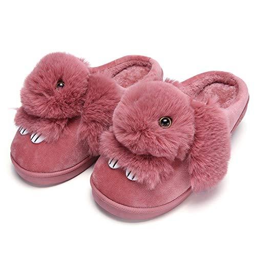 Mädchen Haus Hausschuhe Winter Niedlichen Kaninchen Baumwolle Schuhe Warme Plüsch Gefüttert Indoor Rutschfeste Flache Flauschigen Slipper Für Frauen