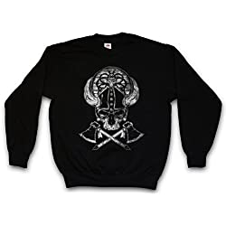 Viking Skull II Sudadera para Hombre Sweatshirt Pullover - Hugin and Munin Odhins Ravens Boat Dragon Ship Vikingo Drakkar Barco Largo Tamaños S - 3XL