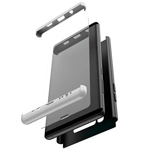 Herbests Kompatibel mit Samsung Galaxy Note 8 Hülle + Panzerglas Komplett Hülle Full Cover 3 in 1 Ultra dünn PC Hart Schutzhülle Handyhülle 360 Grad Hülle Fullbody Case,Silber Schwarz