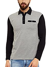 Hypernation Grey And Black Color Cotton Polo T-shirt For Men