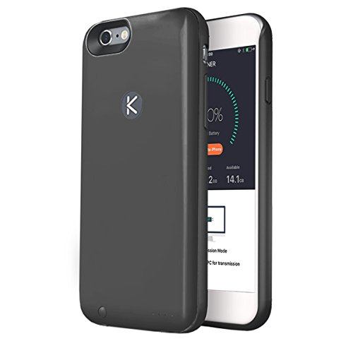 KUNER iPhone 6/6S Memory & Battery Case, Ultra Slim Charger Case für iPhone 6/6S (4,7 Zoll) mit extra 16GB Speicher und 2400 mAh Akkukapazität, schwarz (Super Power Memory)