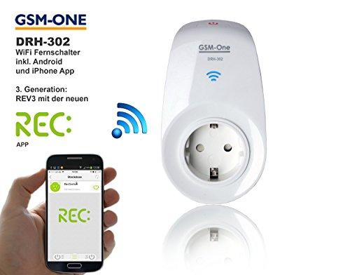 Preisvergleich Produktbild Smart Home Automation, intelligente Wifi Steckdose, (max. 3500W) , inkl. App DRH-302 REV. 3 mit ZEITSCHALTAUTOMATIK, - Einfach von unterwegs Geräte zuhause schalten und überwachen - Bis zu 30 Geräte in einer App !