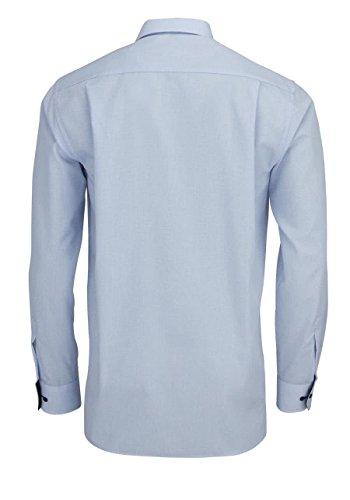 Comfort Fit Langarm blau kariert mit Classic Kent-Kragen Blau