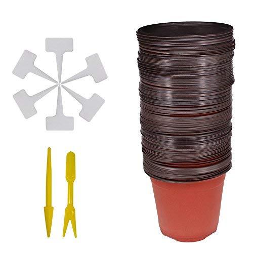 Huvai 50Pcs 15,2cm Kunststoff Setzlinge Pflanzen Anzuchttöpfen mit 50Pcs Wasserdicht Kunststoff-Pflanze T-Type Tags und 2/Set Umpflanzen Graben Mini Tools Mini-graben