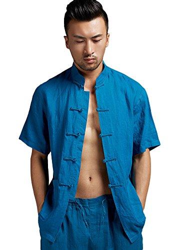 Insun Herren Leinen Hemd Einzigartiges Kung fu Kampfkunst Hemd Mit Handgemachtem Design Chinesischer Froschknoten Knopfverschluss Blau