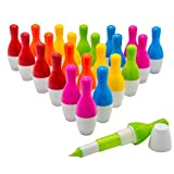 Woclhj bowling Style penne a sfera cute mini penna a sfera retrattile telescopico penna creativo novità regalo per studenti bambini 0.5mm, inchiostro blu-Confezione da 24