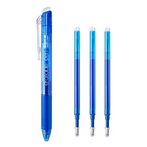 Ezigoo Bolígrafo Borrable Azul- Bolígrafo de Fricción Retráctil con Clip Botón y Punta 0.7 mm (paquete de 1 bolígrafo y 3 recambios) - 9BL808