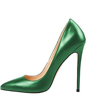 MONICOCO Übergröße Damenschuhe Spitze Zehen Stiletto Pumps für Party Hochzeit