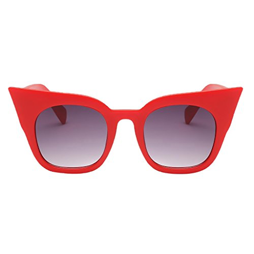 Homyl Katzenauge Kunstoff Rand Rahmen Damen Frau Mode Sonnenbrille Women Sunglasses - Roter Rahmen Gradient Grey Lens, wie beschrieben