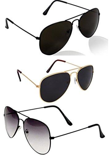 Y&S Aviator Sunglasses Combo (Black) (Pck3In1 - 0103)