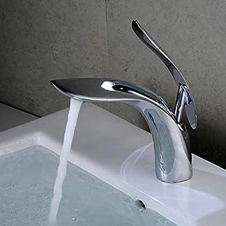 Grifería de una manija para el baño Moderno Acabado en cromo Mezcladores de lavabo para baño 1 orificio de montaje Grifo de lavamanos Leekayer
