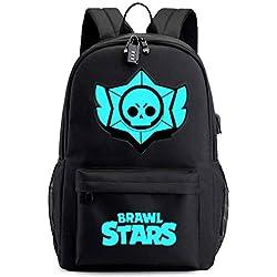 LIAN Wilderness Brawl Stars Hand Travel Korean Wave College Travel Bag Casual Computer Mochila De Carga USB,Black