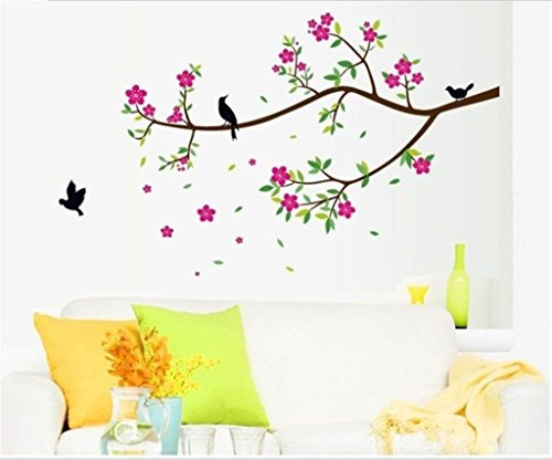 Decals Design 'Beautiful Nature Tree and Flowers' Wall Sticker (PVC Vinyl, 90 cm x 60 cm)