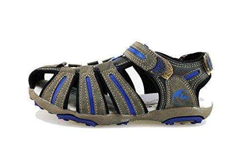 LUMBERJACK sandali bambino 35 EU grigio pelle scamosciata blu tessuto AG375