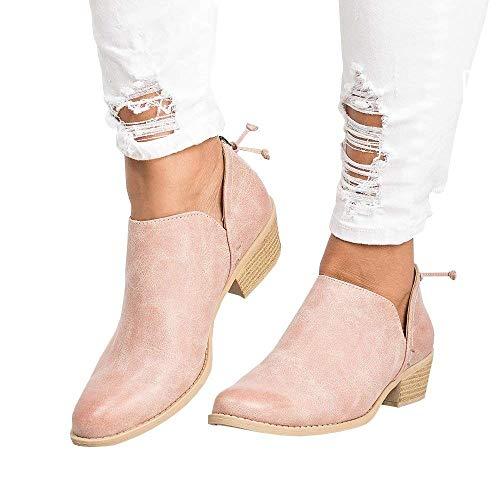 Botines Mujer Tacon Medio Planos Invierno Tacon Ancho Piel Botas Botita Moda 3cm Casual Planas Zapatos Ankle Boots Caqui Rosa Beige Negros 35-43 PK42