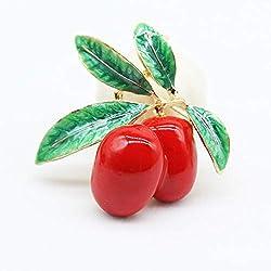 ZhiGe Broche,Broche de Mujer Broches para Ropa Mujer Aleación joyería Gota Aceite Esmalte Color Rojo Verde Oliva Broche Gran Broche