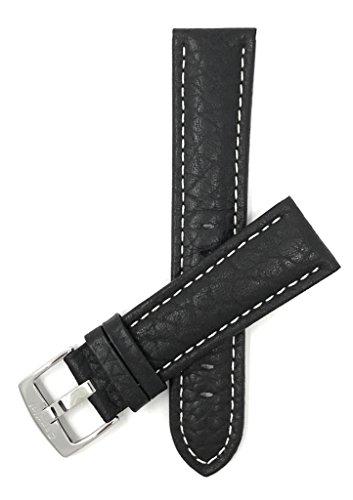Extra Lang (XL) Leder Uhrenarmband 18mm für Herren, Schwarz, klassischer Stil, Büffelmotiv, mit weißer Naht, Schließe Edelstahl, auch verfügbar in braun und hellbraun