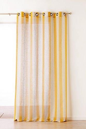 Linder 1168/33/375fr-tenda a righe in poliestere/cotone/lino, 150 x 280 cm, colore: ocra