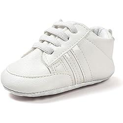 Zapatos De Bebé Botines Zapatillas Deportivas para bebés recién Nacidos Primeros Pasos Zapato de Cuero Antideslizante Inferior Suave Infantil para niños pequeños Amlaiworld (Blanco, Tamaño:12-18Mes)