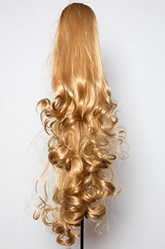 Elegant Hair - 56 cm / 22 pouces queue de cheval boucles toumbants – Blond foncé -Clip-in pièce de extensions de cheveux réversible - Avec griffe-clip - 30 Couleurs - 250g