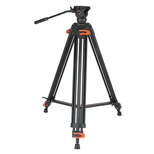 Coman Video Stativ 73 zoll Aluminiumlegierung Professionelle Stativ mit Panorama Flüssigkeitskopf Schnellwechselplatte für DSLR Kamera Video Camcorder Max Last 13 lbs (DV1000) - Video-stativ Fluidkopf