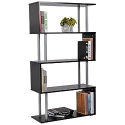 Homcom Bibliothèque étagère Design Contemporain en S 4 Niveaux 80L x 30l x 145H cm Coloris Noir
