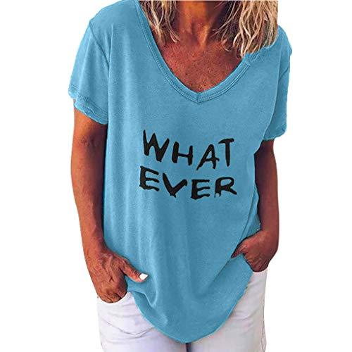 Rosennie Damen T-Shirt Sommer Top Bluse Kurzarm Brief Drucken Tops Plus Size V-Ausschnitt T-Shirts Damen Casual Locker Oberteile Bluse Tshirt Tunika Lose Frauen Mädchen Sweatshirt