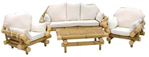 Sf savino filippo salotto gigante in vera canna doppia di bambù divano 3 posti più poltrone e tavolo con cuscini imbottiti da giardino interno esterno per casa salotto veranda