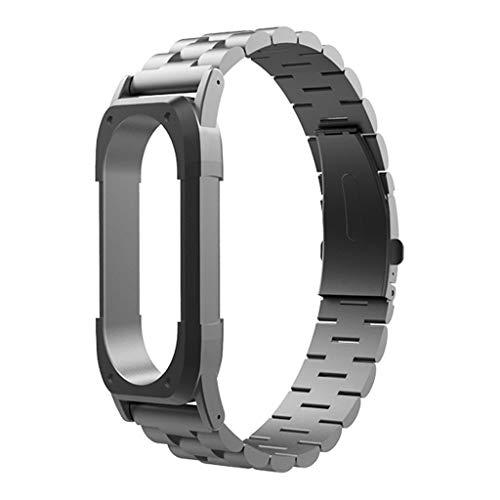 kashyk Ersatz Armband kompatibel für Xiaomi Mi Band 4 Solid Edelstahl Uhrenarmband,klassischen with Quick Release Ersatz Uhren-Armband Edelstahl Metall Wrist Strap fur Unisex Smart Fitness-Uhr