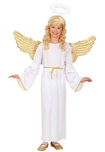 Karneval Klamotten Engel Kostüm Kinder Mädchen weiß-gold Mädchenkostüm Kleid lang inkl. Zauberstab Größe (Mädchen Kostüm Für Engel)