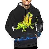 EYSKJ Sudadera con Capucha Iguana Reptile Men's 3D Pullover,Long Sleeve Hoodies,Sweatshirt Tops