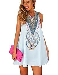 JOTHIN Damen Rundhalsausschnitt Ärmellos Drucken Kurz Kleider Sommerkleid  Strandkleider-Form Shirt S M L XL 2XL 5ae719bb3d