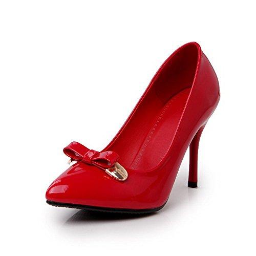 AllhqFashion Femme Tire Pointu Stylet Pu Cuir Couleur Unie Chaussures Légeres Rouge