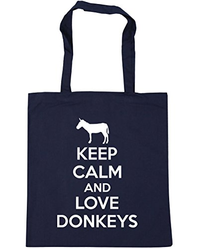 "HippoWarehouse Einkaufstasche / Sporttasche / Strandtasche, mit der Aufschrift ""Keep calm and love donkeys"" (auf Englisch), 42 x 38 cm, 10 Liter, french navy, One (Queen Of Hat Hearts)"