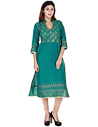 Zoeyams Women's Green Cotton Block Prints Long Straight Kurti