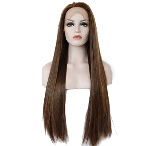 Lace Front Wig Per¨¹cke Braun Mix Glatt 70 cm lang super nat¨¹rlich