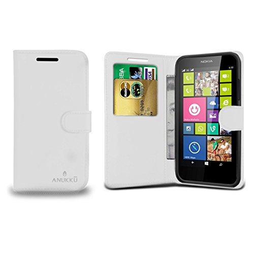 Custodia Flip Cover Stand Portafoglio in Pelle Anukku Per Nokia Lumia 630 - 635 Colore Bianco + Pellicola