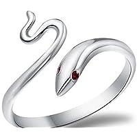CAOLATOR Anillo de Plata Color de Diamante en forma de Diamantes Abierto Metal-Ajustable Para