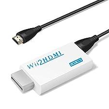 YOHOOLYO Adaptateur HDMI Wii Convertisseur Wii Hdmi avec un Câble HDMI Gratuit Signal Vidéo Full HD 720P/1080P avec Audio Sortie Jack 3,5mm-Blanc [Incompatible avec Mini Wii]