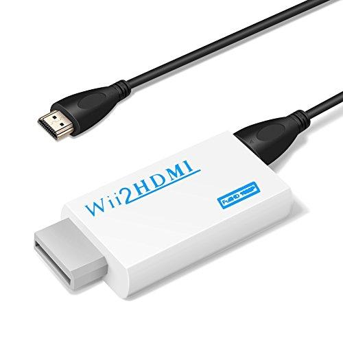 YOHOOLYO Wii HDMI Adapter Wii zu HDMI Konverter Wii Signal automatisch auf 720p/ 1080p und HDMI-Anschluss / 3,5 mm Klinke Ausgang aus mit HDMI Kabel (Hdmi Wii)