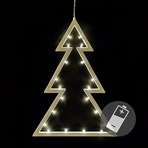 20 LED Fensterbild Baum warm weiß Weihnachtsbaum Fensterschmuck Deko batteriebetrieben Xmas 29,5 x 21,5 cm
