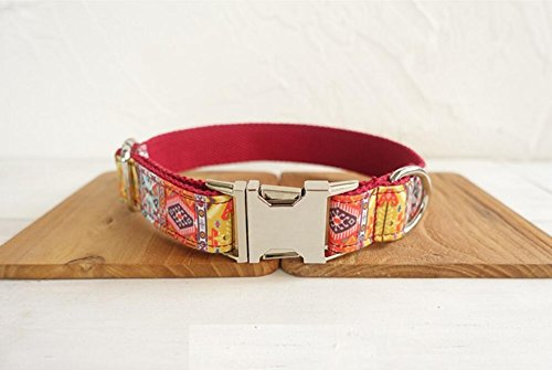 Maycong Hunde Geschirre Haustier süße Verstellbare Weiche Boho Hundehalsband (Rot M)