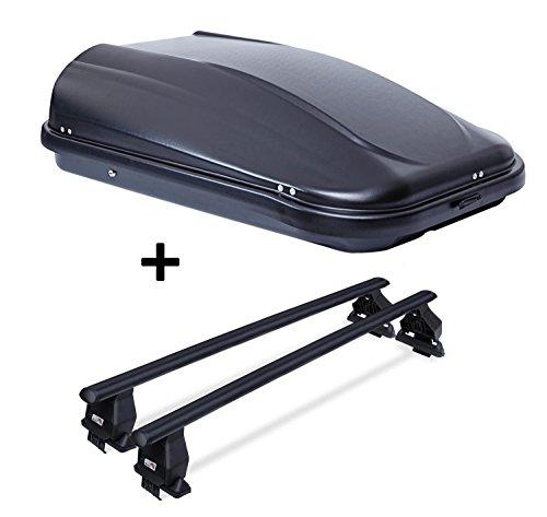 Dachbox JUPRE320 schwarz glänzend abschließbar 320 Ltr + Stahl Dachträger Menabo Tema für VW Tiguan 5N (Kombi 5 Türer) 2007-2011 (Dachträger 50x70)