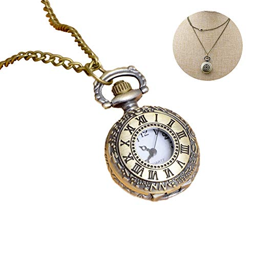 Xiton 1PC Classic Pocket Watch Vintage Roman Numerals Scale Quarz Pocket Watch with Chain Retro Pendant Necklace Watch Gift for Men & Women (Roman Numerals)