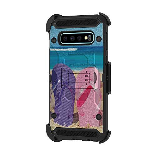 TurtleArmor Schutzhülle für Samsung Galaxy S10+, S10 Plus Hülle, G975 [Armor Pro] Ganzkörper-Panzer-Schutzhülle mit Ständer, robust, Hybrid Gürtelclip, Ocean Beach -, Sandal Flipflops