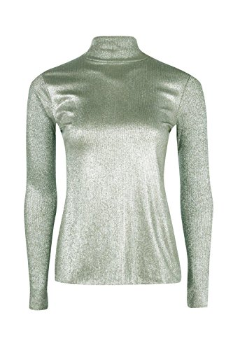 Kaki Femme Gracie Metallic Roll Neck Top Kaki